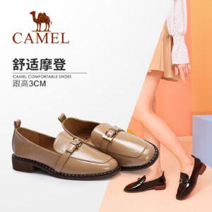Camel/骆驼女鞋 2018秋季新品舒适休闲金属扣饰铆钉低跟时尚单鞋
