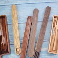 日式简约木质筷子一双装带木盒复古便携勺叉筷盒旅行环保餐具收纳