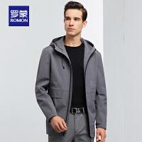 罗蒙男士中长款风衣2020春季商务休闲连帽夹克中青年时尚百搭外套