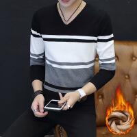 秋冬男士t恤长袖韩版潮流修身v领纯棉打底秋衣男装上衣服加绒加厚 加绒