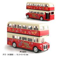 大鼻子校车玩具 合金警车巴士 回力声光 观光双层大巴 公交车电车