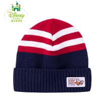 迪士尼Disney男女童套头帽婴儿时尚条纹帽子儿童针织保暖帽161P725