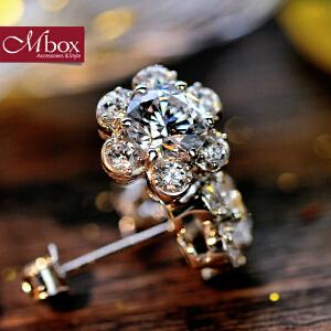 新年礼物Mbox耳钉 气质女韩国版S925银镶嵌施华洛世奇锆石耳钉耳环 雪绒花
