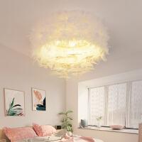 羽毛灯北欧卧室灯具简约现代温馨浪漫婚房公主创意个性网红吸顶灯 白色