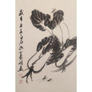 149_齐慧娟_经典中国水墨作品 蟋蟀 白菜 之一_45x65_卡纸_2600
