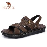 camel 骆驼男鞋夏季透气牛皮两穿凉鞋日常时尚休闲凉拖皮鞋男
