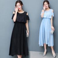 夏季新款女装韩版中长款修身时尚短袖大摆雪纺连衣裙