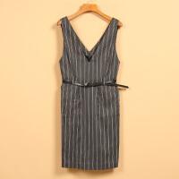 【秋】新款春8Q1467韩范V领条纹显瘦无袖吊带连衣裙