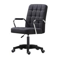 电脑椅懒人卧室休闲可爱旋转靠背多功能单人升降家用椅子简约现代 黑色 布艺 轮子款 尼龙脚 固定扶手
