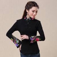 民族风秋冬新款女装上衣 绣花修身长袖T恤女中国风刺绣大码打底衫