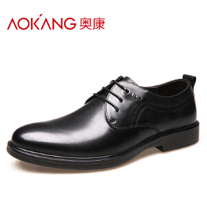 奥康皮鞋男士商务休闲正装皮鞋男圆头真皮青年皮鞋