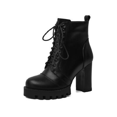 WARORWAR法国2019新品YG14-18-81冬季韩版反绒粗跟鞋高跟鞋女鞋潮流时尚潮鞋百搭潮牌弹力靴靴子骑士靴长靴