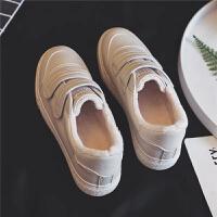 加绒棉鞋小白鞋女2018冬季新款韩版学生百搭板鞋白鞋山本风运动潮
