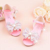 女童凉鞋宝宝平底公主鞋软大中小女孩鱼嘴亮片蝴蝶结水钻
