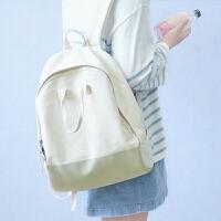 原创少女小清新文艺双肩包韩版校园帆布背包女生中大学生书包 乳白色