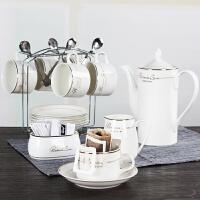 欧式陶瓷杯咖啡杯套装 简约咖啡杯6件套 创意家用咖啡杯碟勺