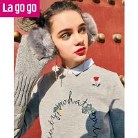 【秒杀价107】Lagogo/拉谷谷2019年冬季新款时尚圆领流苏长袖卫衣