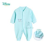 迪士尼Disney 春秋新款新生儿长袖连体衣女宝宝前开扣哈衣外出爬服183L760
