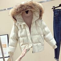 大毛领羽绒棉衣女冬季宽松加厚短款连帽面包服棉袄外套潮