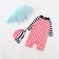 儿童泳衣女童宝宝婴儿长袖防晒速干保暖温泉连体冲浪服韩国单 粉色008+帽子