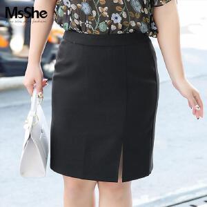 MsShe藏肉加肥大码女装2017新款夏装中腰开叉包臀裙M1710289