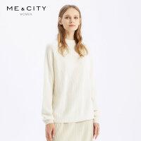 【1件2.5折价:199.8】全山羊绒MECITY女装春秋修身高领薄款针织打底毛衣女纯色羊绒衫