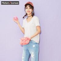 美特斯邦威女装白色短袖T恤女夏装纯色休闲V领心机上衣韩版显瘦
