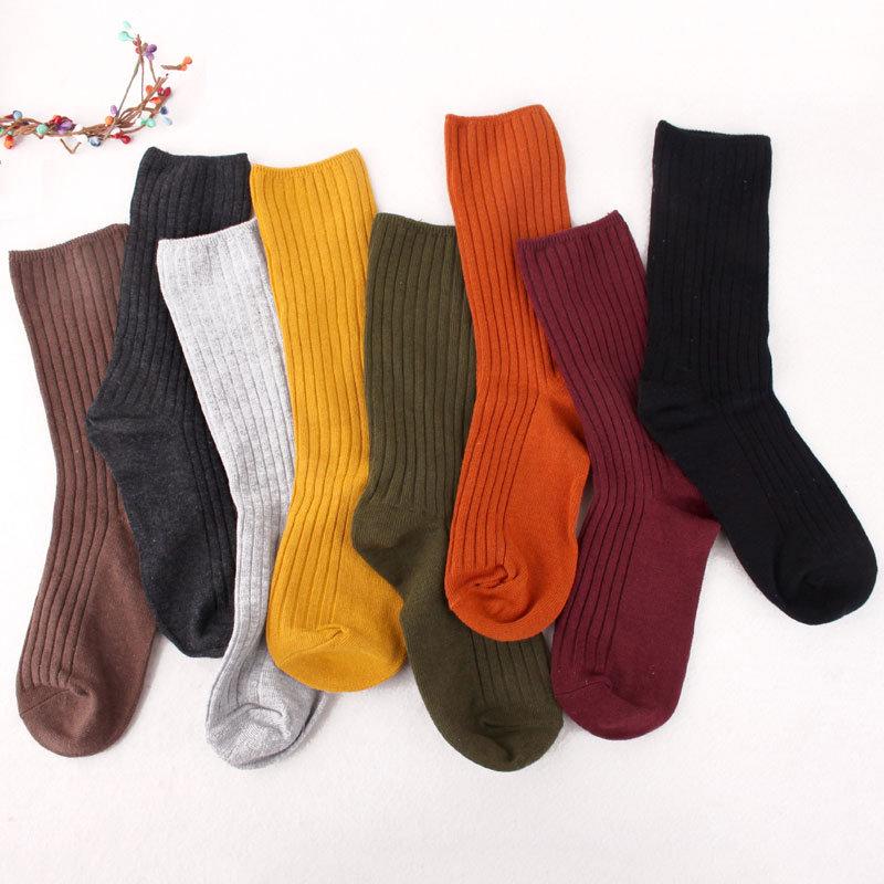 春夏秋冬季堆堆袜女韩国棉薄款纯色细竖条纹复古森系短靴中筒袜qianmuztwa