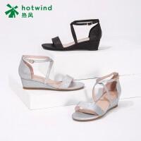 热风小清新坡跟闪亮女士凉鞋休闲一字带凉鞋H54W8602
