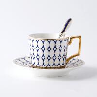 �W式金�咖啡杯英式骨瓷咖啡杯碟套�b高�n��s下午茶花茶�t茶茶具