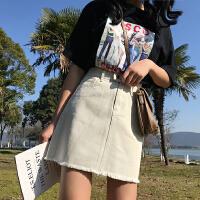 高腰牛仔半身裙2018新款女裙复古港风chic裙子女夏学生毛边A字裙