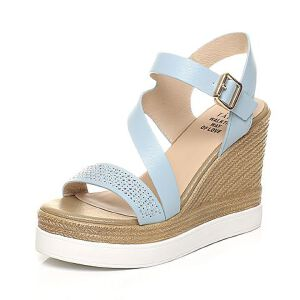 Tata/他她夏专柜同款水钻一字带休闲坡跟女凉鞋2OXA8BL7