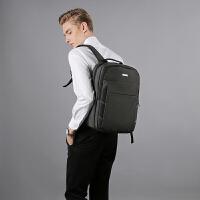 商务背包男士双肩包韩版书包旅行5.6寸电脑双肩包时尚潮流中学生 黑色 偏深灰色