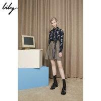 Lily2018秋新款女装撞色字母腰带半身裙118330C6213