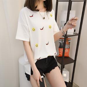 2018新款夏季韩版宽松圆领纯色笑脸刺绣短袖薄款冰丝针织T恤衫潮