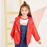 【1件2.5折到手价:74.8】美特斯邦威旗下moomoo童装女童外套中春季新款大童背后印花大红色外套