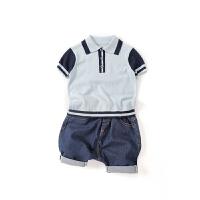 童装2018新款婴幼儿衣服夏装新生儿针织衫短袖儿童POLO上衣男宝宝