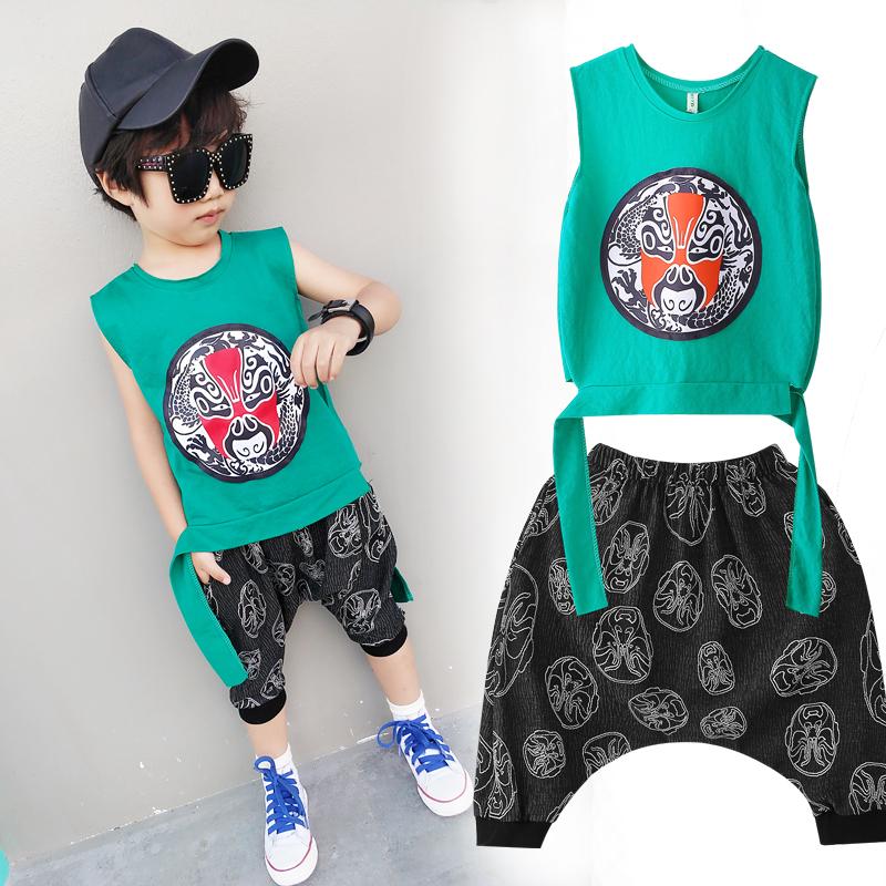 童装男童夏装套装夏季儿童宝宝背心两件套新款潮无袖中国风