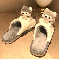秋冬季卡通拖鞋男女室内居家厚底情侣棉拖鞋毛绒可爱防滑保暖半包