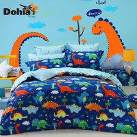 多喜爱秋冬新品纯棉卡通四件套儿童床上用品套件恐龙王国