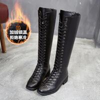 长靴女不过膝2018新款韩版系带马靴靴子中长筒靴秋冬高筒靴骑士靴 黑色