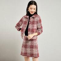 梵希蔓毛呢套装女小香风冬2019新款小个子显高搭配裙子两件套