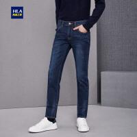 HLA/海澜之家经典直筒牛仔裤五袋款中腰牛仔长裤男