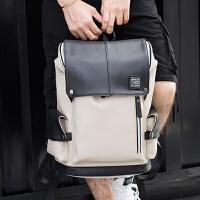 男士背包双肩包大学生书包男潮流电脑包旅行背包皮质男包