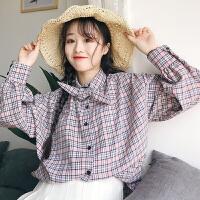 小清新学院风格子衬衫女长袖春新款韩版系带领结宽松休闲衬衣外套