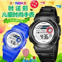时诺刻 电子手表 儿童手表圆形塑胶PU数字学生手表多功能 生活防水 男女学生运动电子表