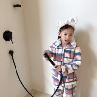 菲菲的衣柜女童法兰绒睡衣套装冬2018加厚中大童珊瑚绒保暖家居服