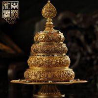 藏传佛教用品鎏金纯铜曼扎曼茶盘三十七供曼茶罗曼扎盘送七宝石
