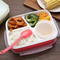 分格小学生带盖密封餐盒微波炉食堂简约塑料饭盒减肥餐便当盒