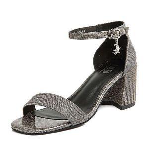 BASTO/百思图2018夏季专柜同款亮线布一字带通勤粗跟女凉鞋RNM05BL8
